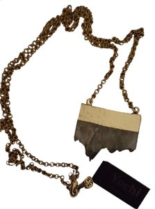Yochi YOCHI DESIGNS Artisan Statement Quartz Gold Dipped Necklace