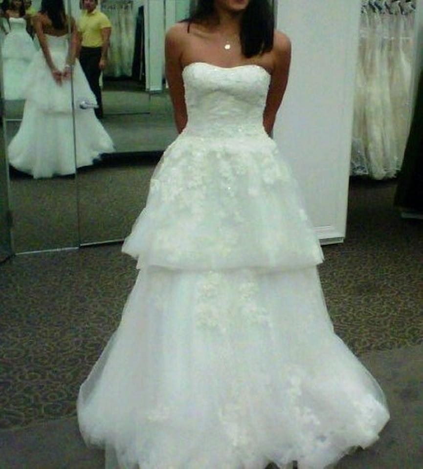 Oleg Cassini White Tulle Over Organza Tiered Ball Gown Style Cwg407 ...
