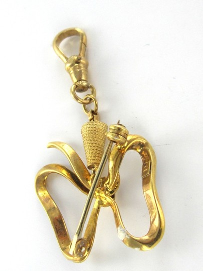 Other 18K KARAT SOLID YELLOW GOLD PIN BROOCH KEY CHAIN ENAMEL BOW 7.8 GRAMS BLUE JEWEL