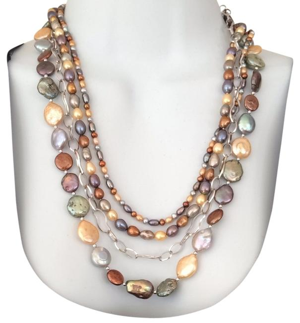 Multi Color Coin Pearl and Sterling Neckace Image 1