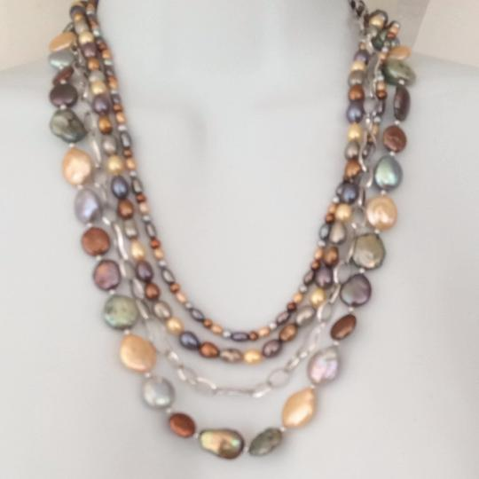 bjewelled Multi Color Coin Pearl And Sterling Neckace