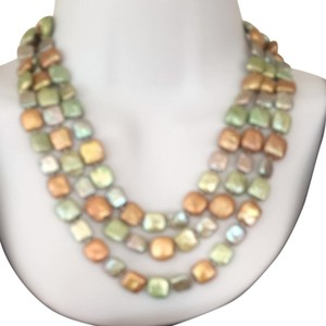 bjewelled Green And Gold Coin Pearl Necklace