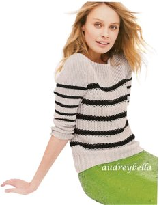 J.Crew Stripes Bateau Neckline 3/4 Sleeve Sweater