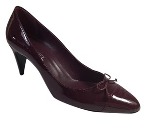 Chanel Red Burgundy Patent Patent Leather Plum Pumps