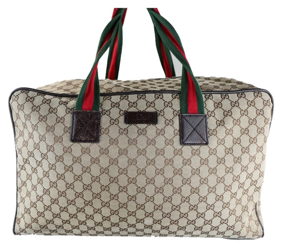 592791bcee9 Gucci   Monogram Gg Large Duffle Brown Canvas Weekend Travel Bag ...