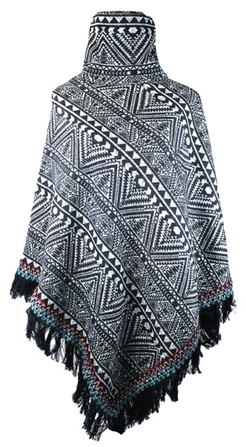 Preload https://img-static.tradesy.com/item/8338663/black-multicolor-tribal-chic-fringe-accent-turtleneck-knit-ponchocape-size-os-one-size-0-3-650-650.jpg