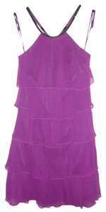 Jay Godfrey Purple Sequin Silk Halter Dress