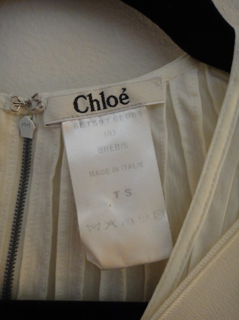 Chloé Silk Pleated Top Cream