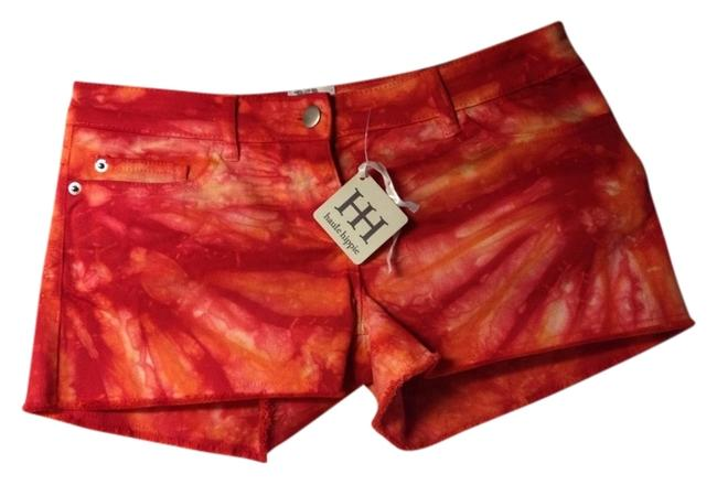 Haute Hippie Tie Dye Festival Boho Shorts Orange Red