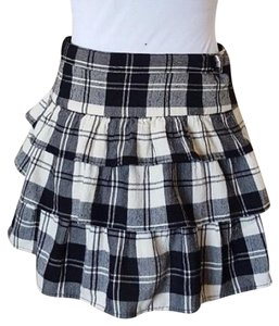 Theory Plaid Ruffle Tiered Mini Skirt