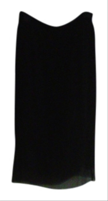 Tahari Chiffon Silk Dryclean Only Straight-lined Skirt Black