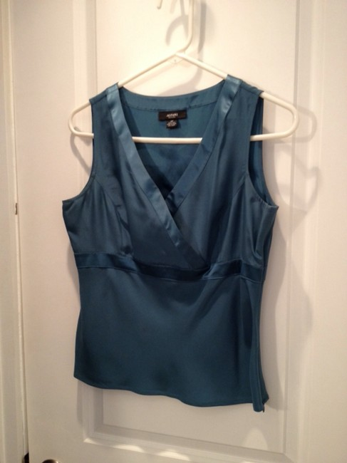 Alfani Silk V-neck Blouse Sexy Top Teal