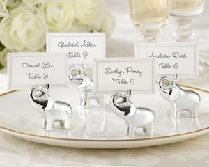 Kate Aspen Silver 24 Elephant Place Card/Photo Holders Wedding Favors
