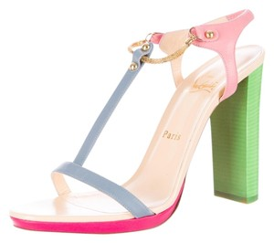 Christian Louboutin Colorblock Color-blocking Leather Patent Patent Leather 39.5 9.5 New Strappy Stiletto Chunky T-strap Gold Gold Multicolor, Green, Pink Sandals