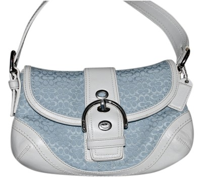 Coach Leather Satchel in White and Blue