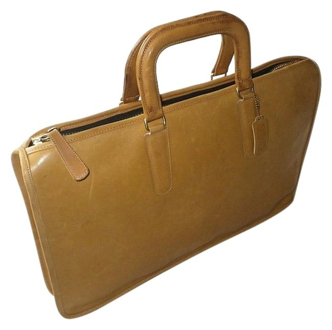 Item - Portfolio Vintage 1970's Lg Handle Briefcase Made In Nyc Rare Yellow/Tan Distressed Glove Tanned Leather Laptop Bag