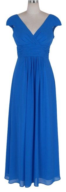 Preload https://item4.tradesy.com/images/blue-elegant-pleated-waist-mini-sleeves-long-formal-dress-size-8-m-834453-0-0.jpg?width=400&height=650