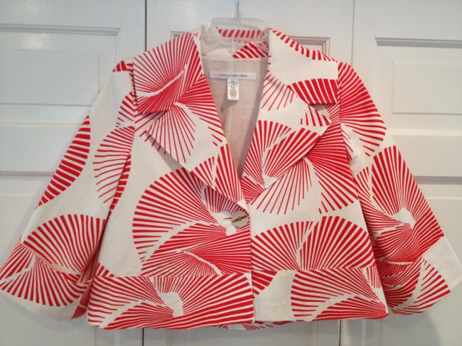 Diane von Furstenberg Cropped Fan Print Orange & Cream Blazer