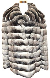 Saks Fifth Avenue Fur Mid-length Striped Soft Chinchilla Fur Coat