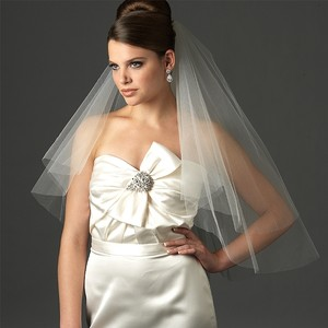 Cut Edge 2-layer Elbow Bridal Veil(ivory)