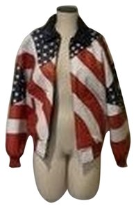 Michael Hoban Vintage Red, White and Blue Leather Jacket