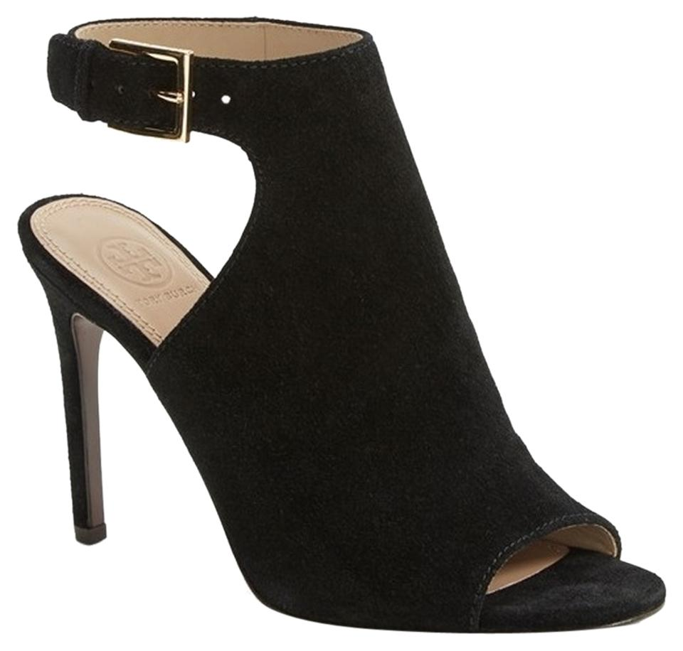 Tory Burch Suede Black Brittania Peep Toe Suede Burch Boots/Booties aa242e