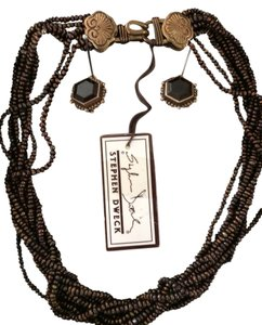 Stephen Dweck bronze colored beaded necklace w/ quartz clip earrings