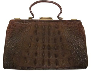 Vintage Leather Brass Lined Satchel in brown