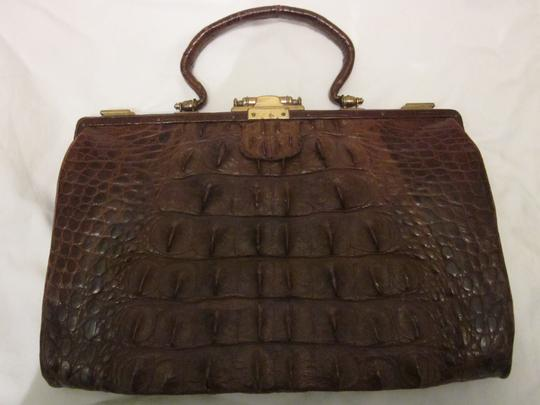 Other Vintage Leather Brass Lined Pockets Satchel in brown