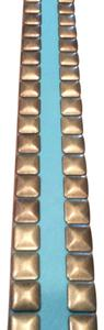 Linea Pelle Real Leather Belt with Gold Faceted Square Studs