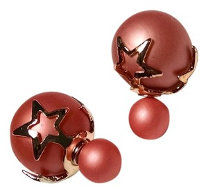 Other New Double Ball Stud Earrings Pink Gold J1482 Summersale