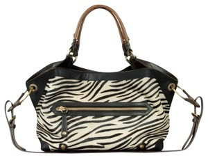 orYANY Calfskin Oversized Satchel in Zebra Calf Hair Vachetta Leather Trim