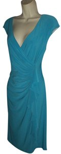 Evan Picone Aqua Faux-wrap Dress