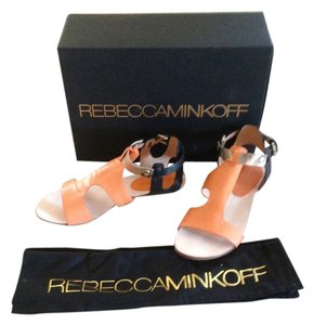 Rebecca Minkoff orange/black and gold Sandals