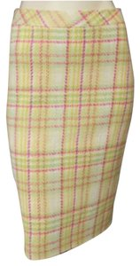Louis Feraud Pencil Skirt Green and Pink Plaid