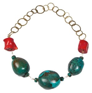 Turquoise nuggets with Red Coral