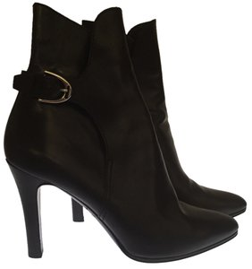 Ralph Lauren Collection Leather Ankle Boot Black Boots