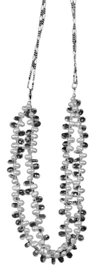 Other White Sapphire Briolette and Freshwater Pearl Necklace