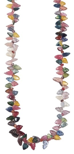 Other Carved Leaf Multi-Color Sapphire Necklace