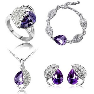 Silver Plated Jewelry Set Wedding Love Oval Purple Stone Cz Zircon Ring Pendant Earrings