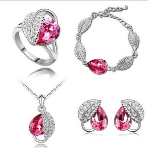 Silver Plated Jewelry Set Wedding Love Oval Red Stone Cz Zircon Ring Pendant Earrings Finely Cut