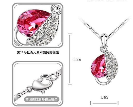 Hot Pink Silver Plated Love Oval Red Stone Cz Zircon Ring Pendant Earrings Finely Cut Jewelry Set