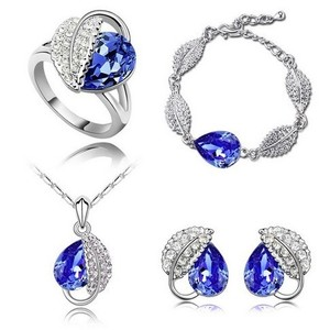 Blue Silver Plated Love Oval Sapphire Stone Cz Zircon Ring Pendant Earrings Finely Cut Jewelry Set