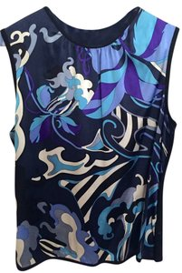 Emilio Pucci Sleeveless Out Date Night Top Multicolored - Blues, Black & White.