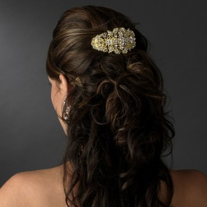 Elegance By Carbonneau Glitzy Gold Rhinestone Wedding Barrette