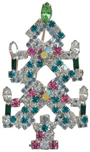 Other GORGEOUS MULTI-COLORED VINTAGE RHINESTONE CHRISTMAS TREE BROOCH
