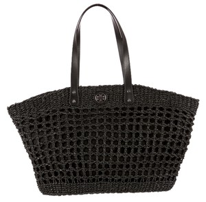 Tory Burch Woven Textured Leather Silver Silver Hardware Logo Monogram Metallic Metallic Hardware Reva Robinson Oversized Large Tote in Black