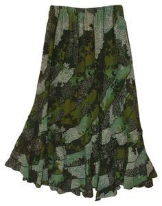 Denim 24/7 Tiered Boho Festival Midcalf Skirt Green Floral Print