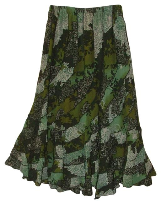 Item - Green Floral Print Swoopy Olive Pieced Festival Skirt Size 14 (L, 34)