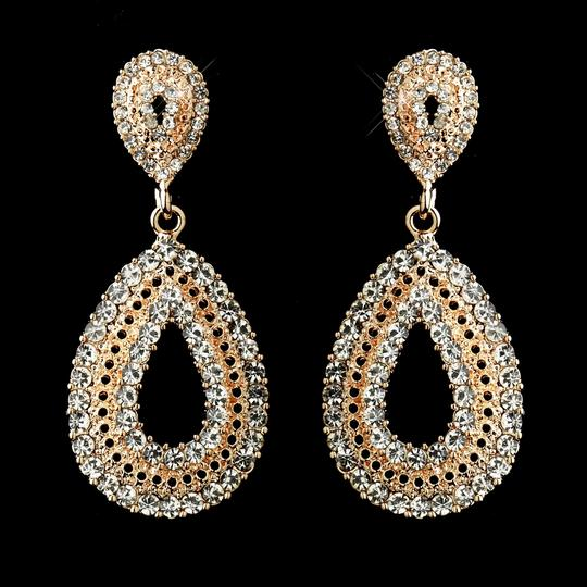 Elegance By Carbonneau Rose Gold Crystal Wedding And Prom Earrings